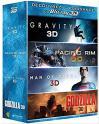 Coffret 4 films Bluray 3d + BR + UV : Gravity 3D + Pacific rim 3D + Man of steel 3D + Godzilla 3D à 15.99€ au lieu de 29.81€ @ Amazon