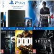 Bon plan Auchan : Pack PS4 1 To + Uncharted 4 + Dishonored 2 + Skyrim + Doom à 359.99€ au lieu de 499€