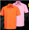 Chemise manches courtes RUSSELL Short Sleeve Pure Cotton Poplin rose ou orange à 2.22€ @ Sportoutlet