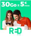 Bon plan Showroomprive : Forfait mobile appels-SMS-MMS illimités et 30Go d'internet chez RED by SFR pour 5€ par mois à vie via showroomprivé