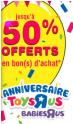 Jusqu'à 50% offerts en bons d'achat @ Toysrus
