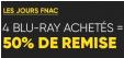 4 Blu-ray achetés = 50% de réduction pour les adhérents @ Fnac