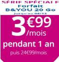Forfait mobile B&YOU 20 Go à 3.99€/mois (au lieu de 24.99€) pendant 1 an @ Bouygues Telecom